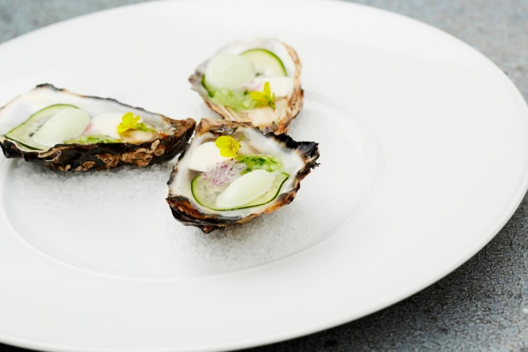 Drie oesters op een bord