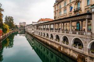 Tromostovje brug van Jeze Plecnik in Ljubljana Slovenië