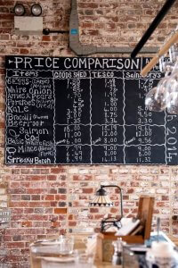 Krijtbord met prijsvergelijkingen tussen The Goods Shed en supermarkten in Canterbury