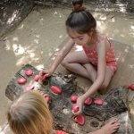 Twee kinderen spelen een spel met rode keien op een boomstam