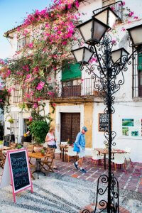 Lantaarnpaal versierd met krullen voor een huis met een klimplant met roze bloemen op de gevel