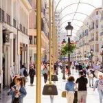 Winkelstraat in Málaga met gouden bogen