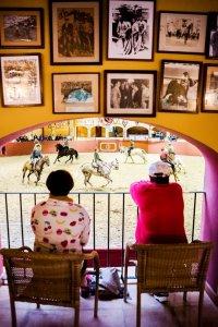 Twee mensen kijken vanop een balkon naar ruiters te paard in een arena