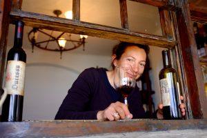 Vrouw met glas en flessen wijn