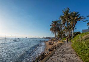 Zee met bootjes aan de linkerkant en een pad met palmbomen rechts