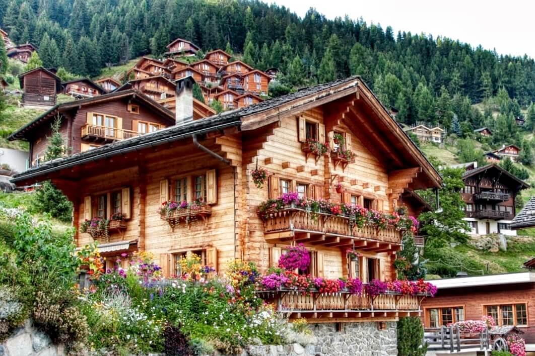 Houten huis met rode geraniums op een heuvel met bos in de achtergrond