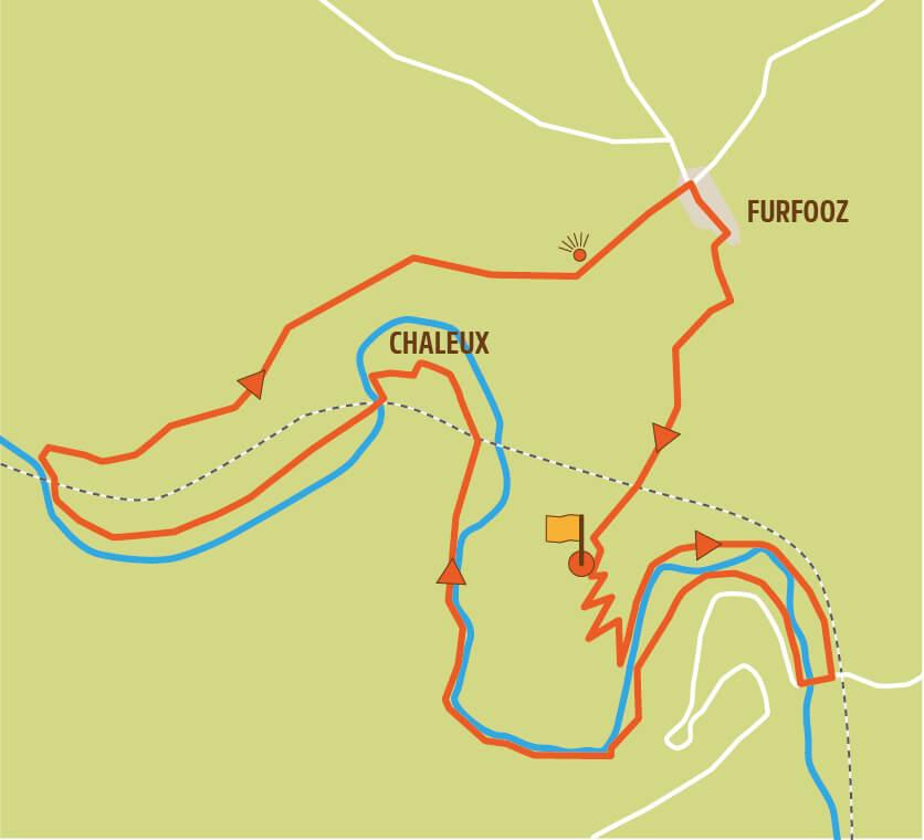 Wandelroute Lesse Furfooz kaart