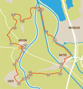 Wandelroute Mechelen Zennegat kaart